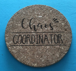 Engraved Cork Trivet - 7 Inches