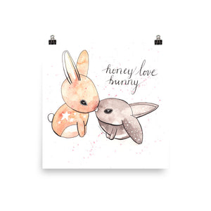 Honey Love Bunny Satin Art Print