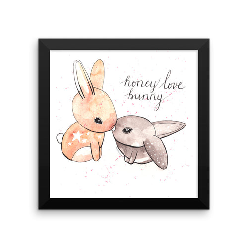 Honey Love Bunny Framed Satin Art Print