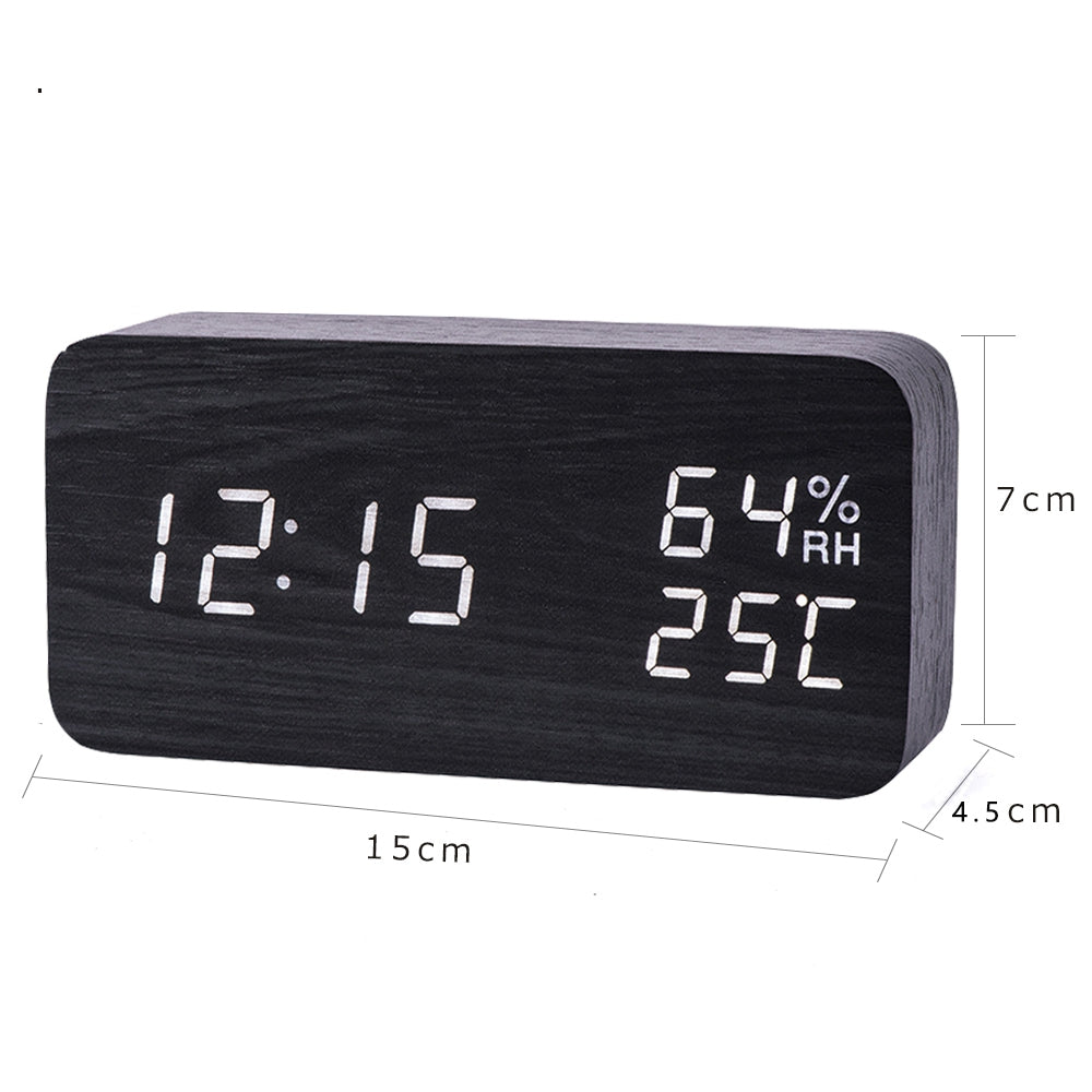 Modern Led Alarm Clock Temperature Humidity Electronic Desktop Digital Table Clocks - carpemstore