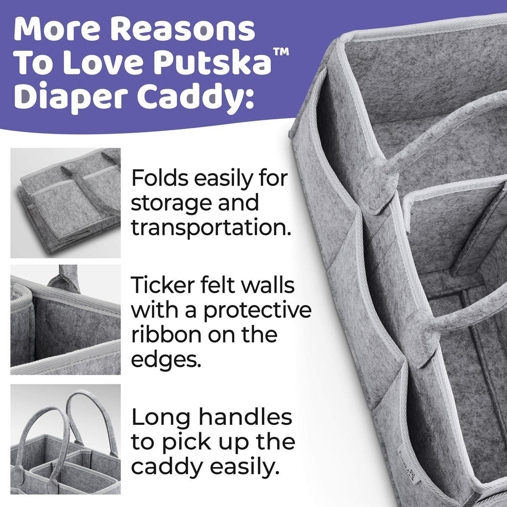 Baby Diaper Organizer Portable Holder Bag for Changing Table and Car, Nursery Essentials Storage bins - carpemstore