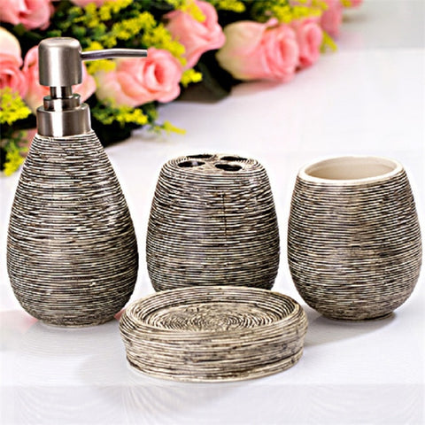 Four sets of ceramic suit bathroom supplies cleaning supplies bathroom soap dispenser bathroom accessories home bathroom suite - carpemstore