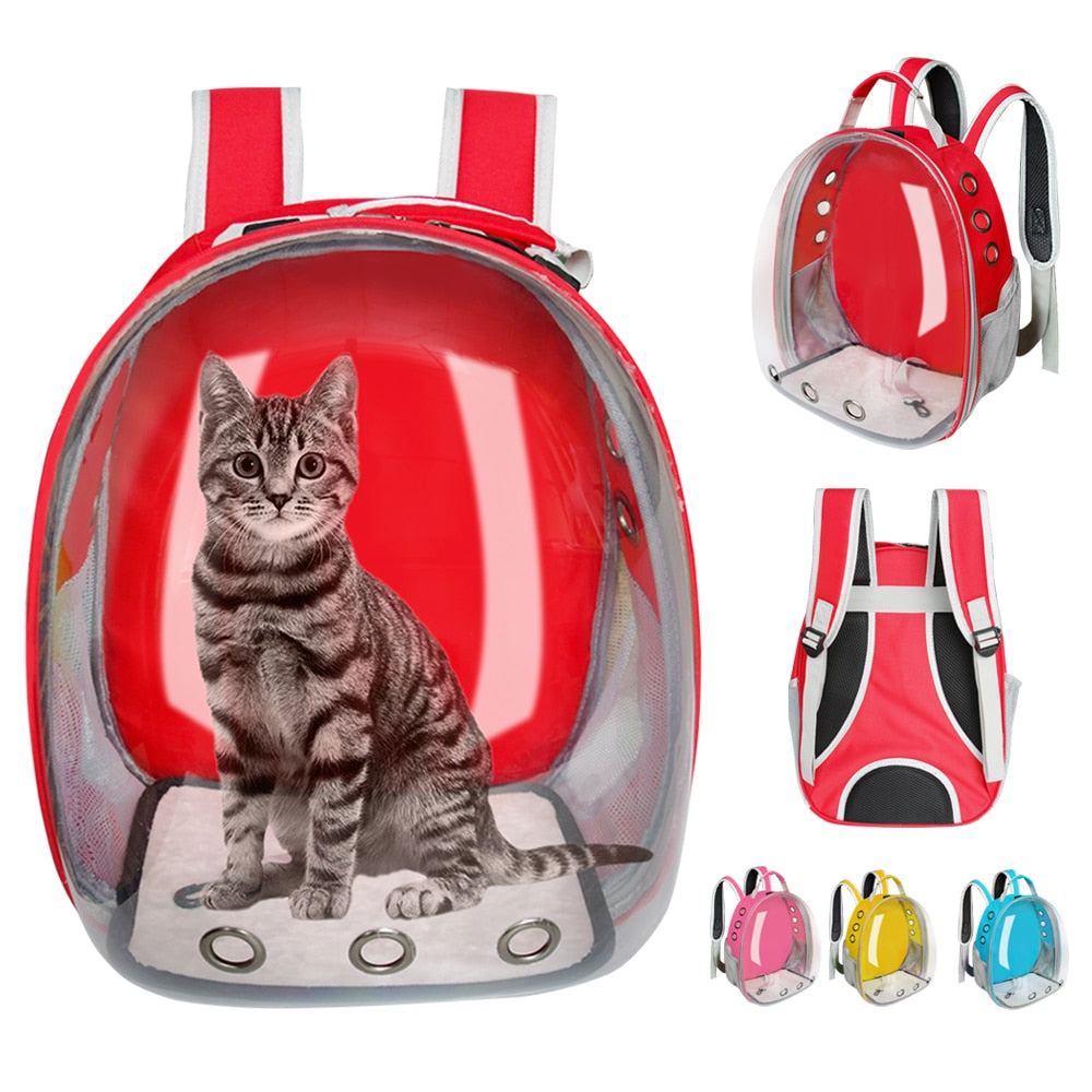 Cat Carrier Bag Breathable Transparent Puppy Cat Backpack Cats Box Cage Small Dog Pet Travel Carrier Handbag Space Capsule - carpemstore