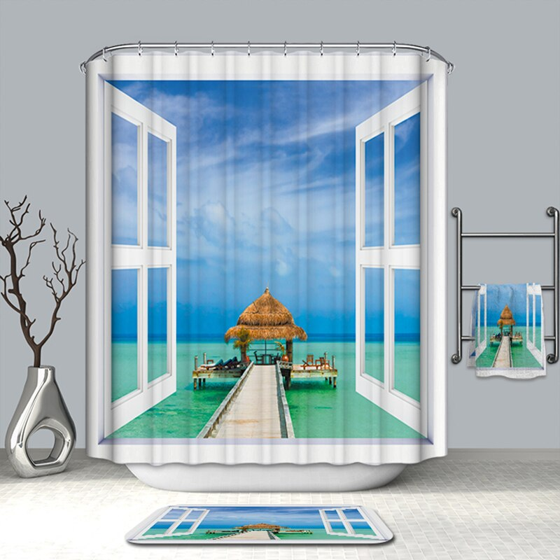 Summer Hot Bath Curtains Fake Window Beach Scenery Pattern 3D Shower Curtains Polyester Washable Bathroom Products + 12 Hook - carpemstore