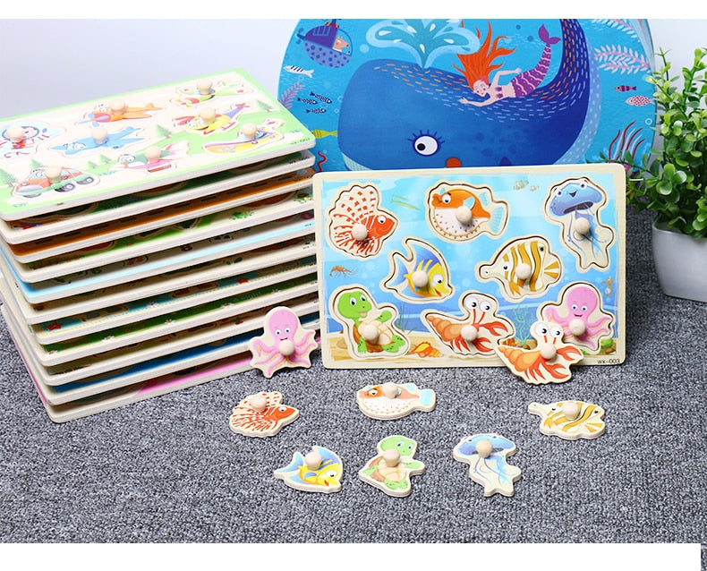 Wooden Puzzle Cartoon Vehicle Marine Animal Puzzle Jigsaw Board 12 Set Educational Wooden Toy Child Gifts - carpemstore