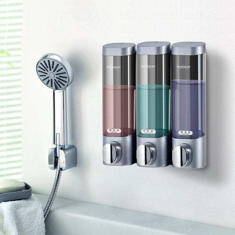 Liquid Soap Dispenser Wall Mount 300ml Bathroom Accessories Plastic Detergent Shampoo Dispensers Double Hand Kitchen Soap Bottle - carpemstore