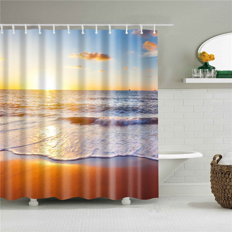High Quality Sea Beach Shell Printed Shower Curtains Bath Screen Waterproof Products Bathroom Decor with Hooks - carpemstore