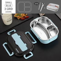 Japanese Kids Lunch Box 304 stainless steel Bento Lunch Box With Compartment Tableware Microwave Food Container Box - carpemstore