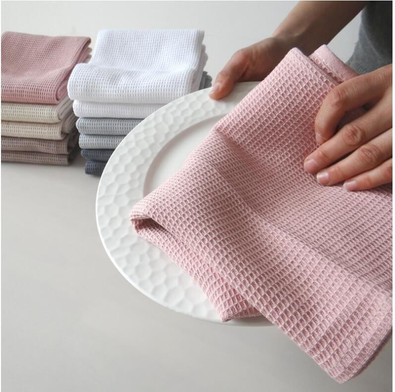 Cotton waffle embroidery Dishtowel Kitchen Towel Cleaning Cloth Tea Towel Ultra Large 50X70CM 1 PC - carpemstore