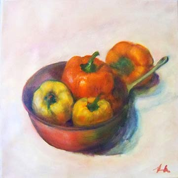 Orange and Yellow Peppers w/ Antique Copper Pot