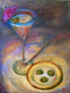 Martini with Little Umbrella and Olives