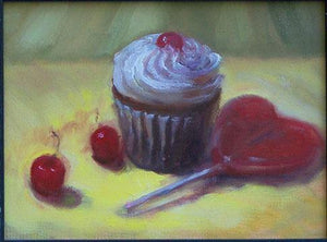 Cupcake with Cherries and wild cherry heart