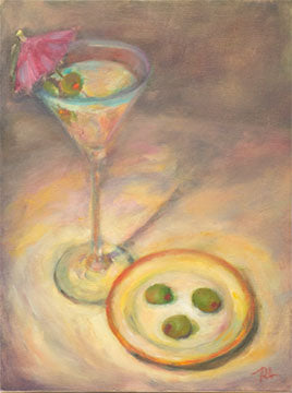 Martini with extra olives and umbrella