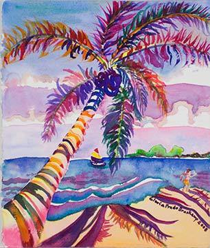 Beach Scene with Palm Tree