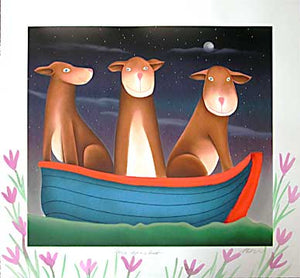 Three Dogs in a Boat