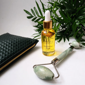 Jade Roller and Almond Rose Facial Oil Set