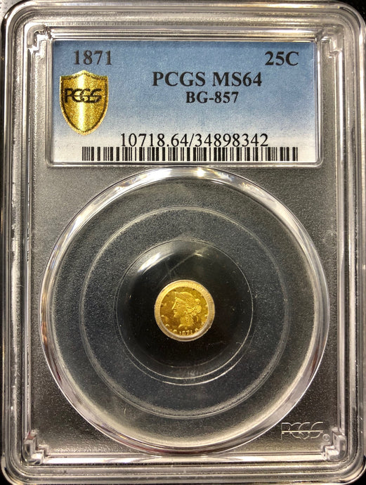 1871 25c Round Liberty BG-857 PCGS MS64 California Fractional Gold