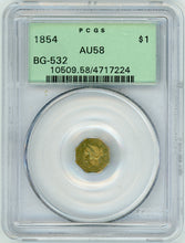1854 California Fractional Gold BG-532 $1 PCGS AU 58 | California Fractionals