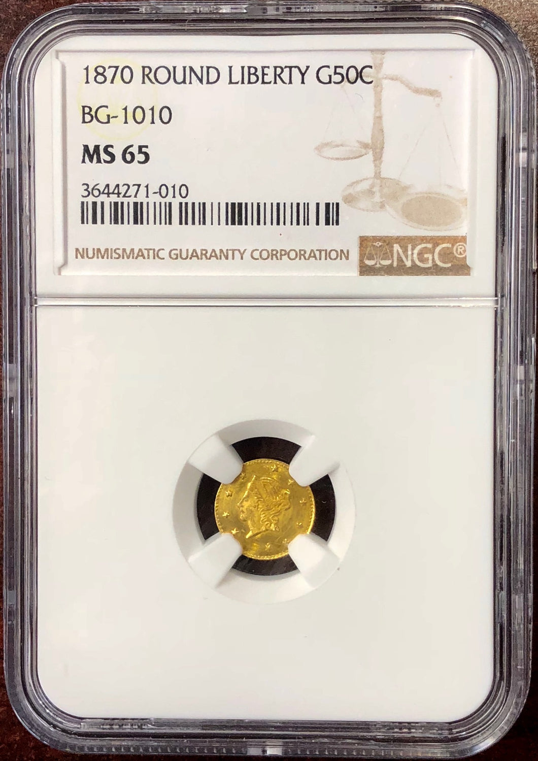 1870 California Fractional Gold BG-1010 50c NGC MS 65