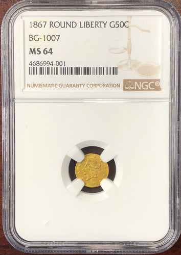 1867 Round Liberty BG-1007 NGC MS64 California Fractional Gold