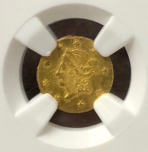 1865 California Fractional Gold coin Round Liberty 50c BG-1005 NGC MS 64
