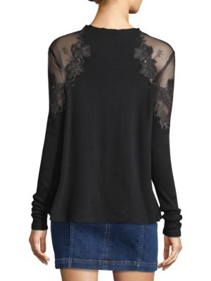 Free People Women's Black Daniella Shoulder Top