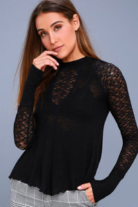 Free People No Limits Black Lace Long Sleeve Top
