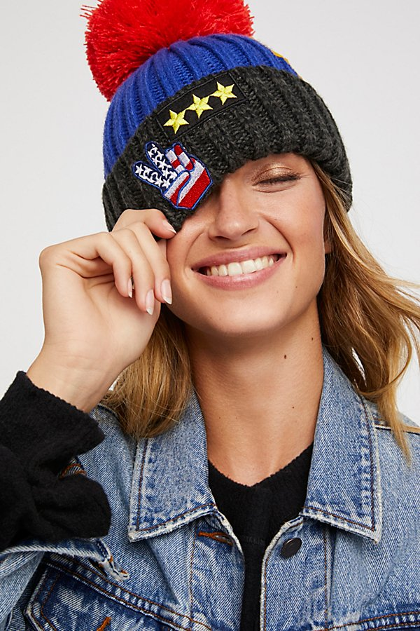 Happy Place Patched Pom Beanie
