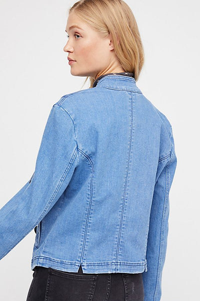 Free People Fitted Military Denim Jacket