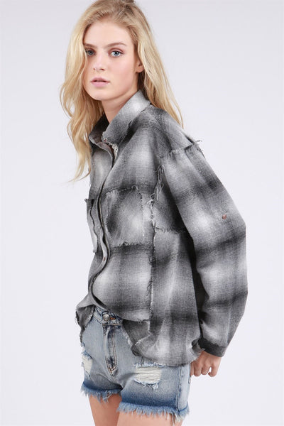 Destroyed plaid button down shirt