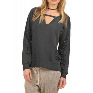Vintage Havana Women's French Terry Ripped Sweatshirt