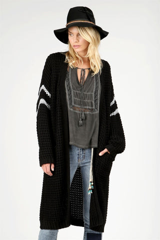 Cardigan With Metallic Double Stripes On Dolman Sleeve