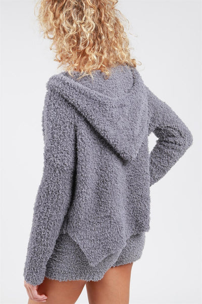 Berber Fleece Pullover Hoodie With Side Slits And Drawstring Detail