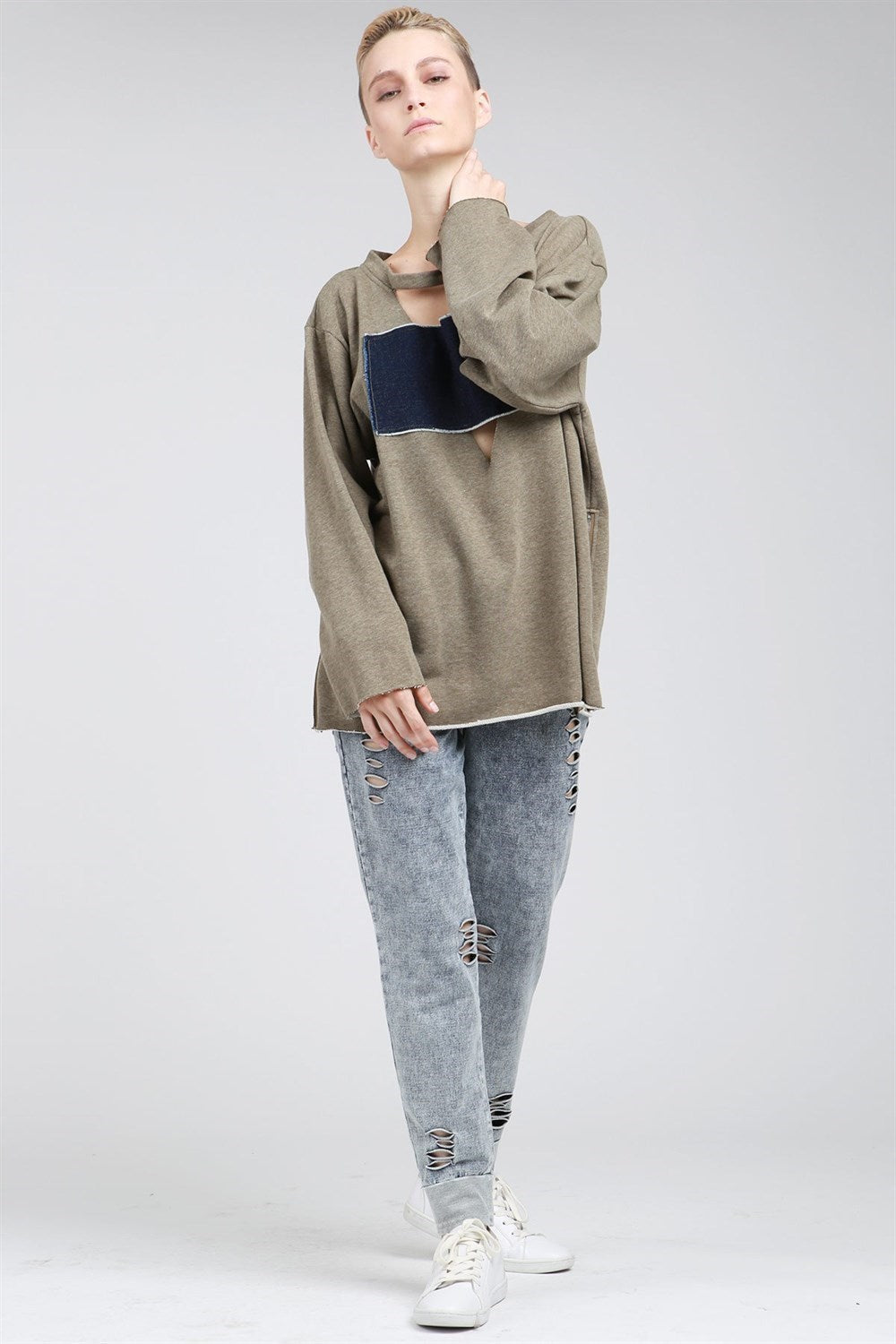 Vintage Oversized Deep V Neck French Terry With Denim Patch