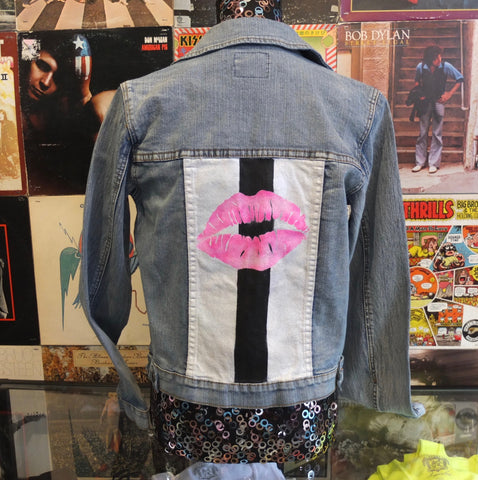 Custom Jean Jacket With Painted Lips