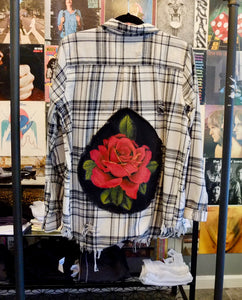 Painted Rose Patch On Distressed Flannel
