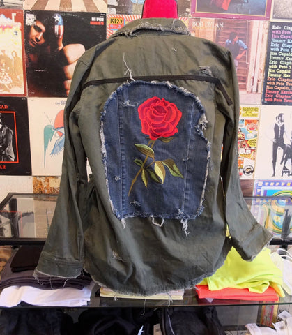 Army Jacket With Rose Patch