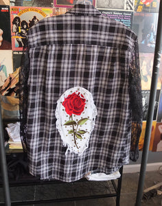 Flannel With Lace Sleeves And Rose Patch