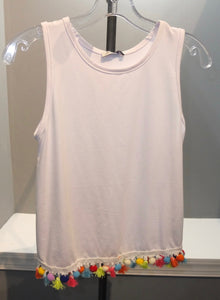 Kids Tank With Rainbow Pom Tassels