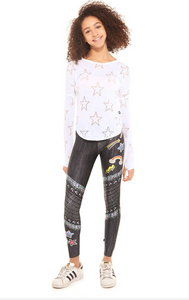 Girls Sweet Moto Jeans Leggings