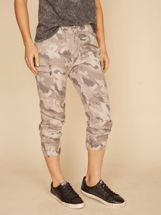 Grey Camo Tencel Cargo Pants