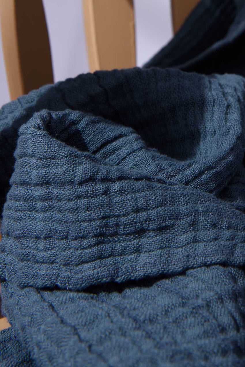COTTON THROW IN OIL BLUE
