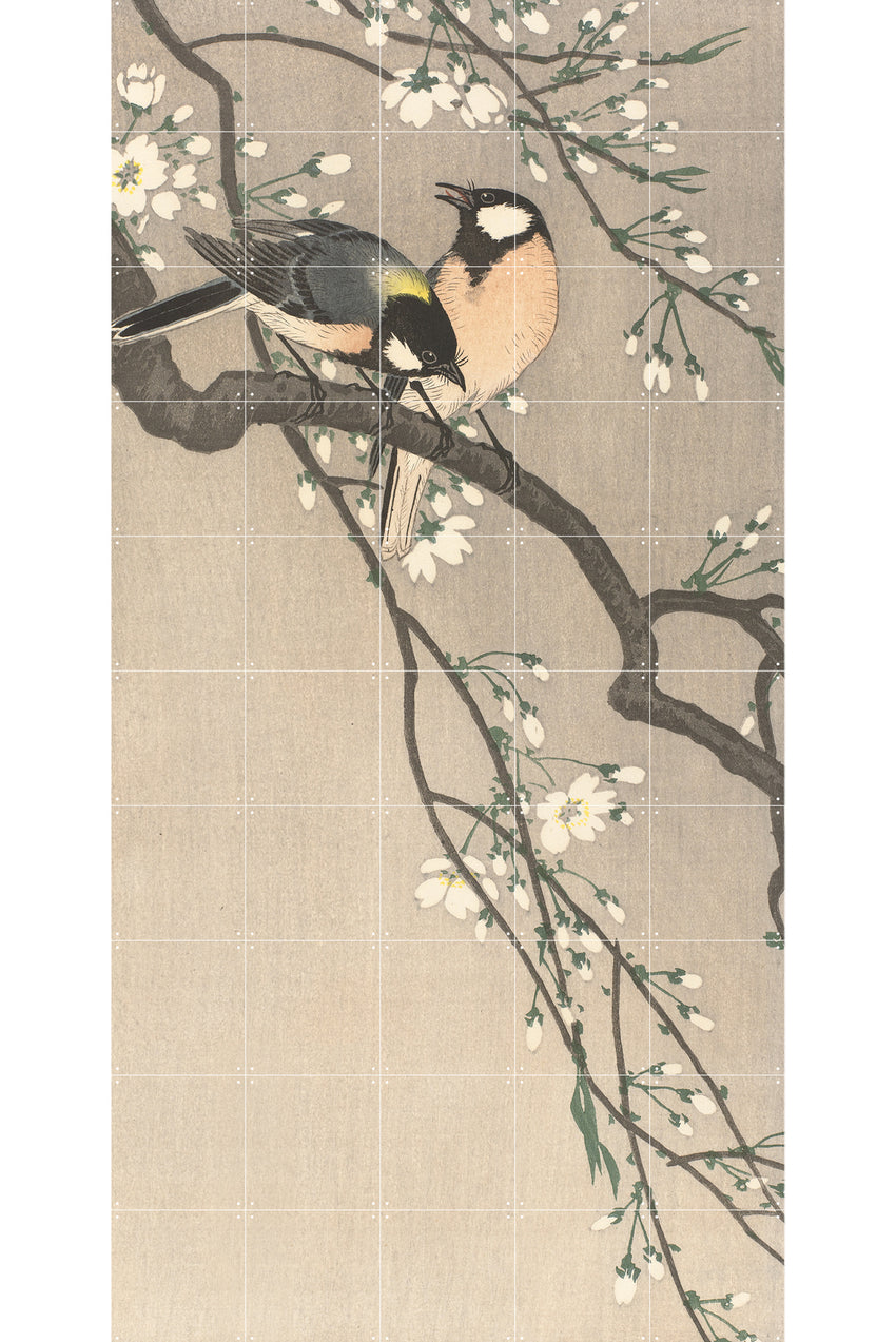 LUXURY PRINT FOR YOUR NAKED WALL - BIRDS ON A CHERRY