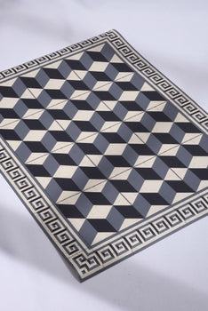 BLACK & WHITE GEOMETRIC AREA RUG