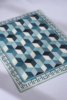 BLUE & WHITE GEOMETRIC AREA RUG
