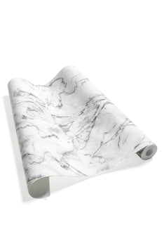 VINYL TROMPE L'ŒIL WALLPAPER  WHITE & GREY MARBLE