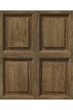 VINYL TROMPE L'ŒIL WALLPAPER - MEDIUM OAK PANELLING