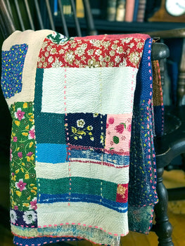 EMBROIDERED, QUILTED VINTAGE THROW - COLORED PATCHWORK