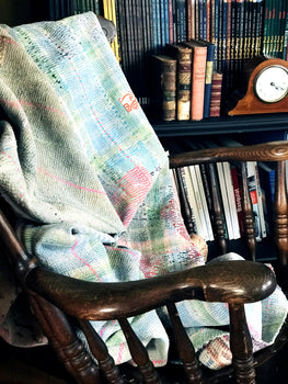 EMBROIDERED, QUILTED VINTAGE THROW - PATCHWORK RUSTIC
