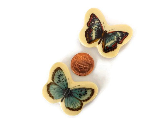 salvaged blue butterfly magnet set, found vintage